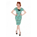 'April' Turquoise Floral Print Wiggle Dress