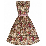 'Audrey' Vintage 1950's Floral Beige Party Dress