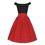 Carla Black and Red Polka Dot Swing Dress