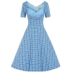 'Sloane' Blue Checked Swing Dress