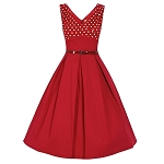 Valerie Wine Polka Dot Edged Swing Dress